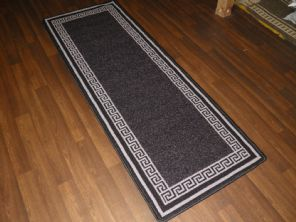 NEW NON SLIP TOP QUALITY RUNNERS 66X185CM APROX 6FTX2FT3 KEY DESIGN BLACK/GREY